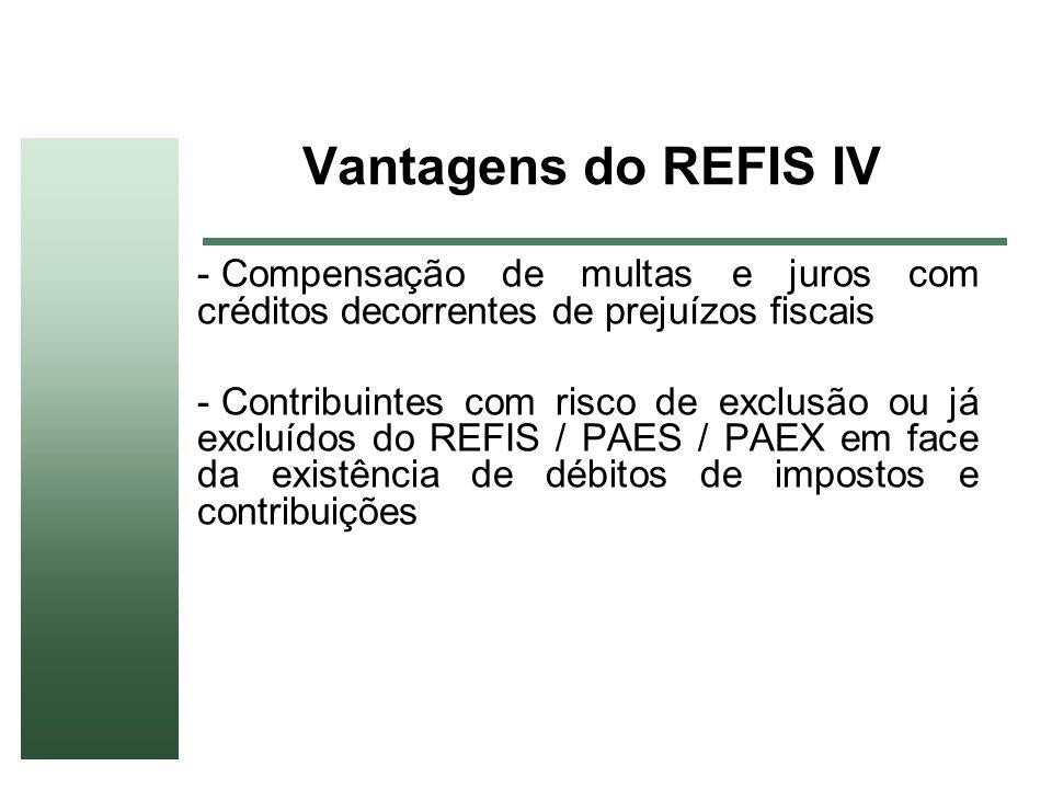 Vantagens do REFIS IVCompensação de multas e juros com créditos decorrentes de prejuízos fiscais.