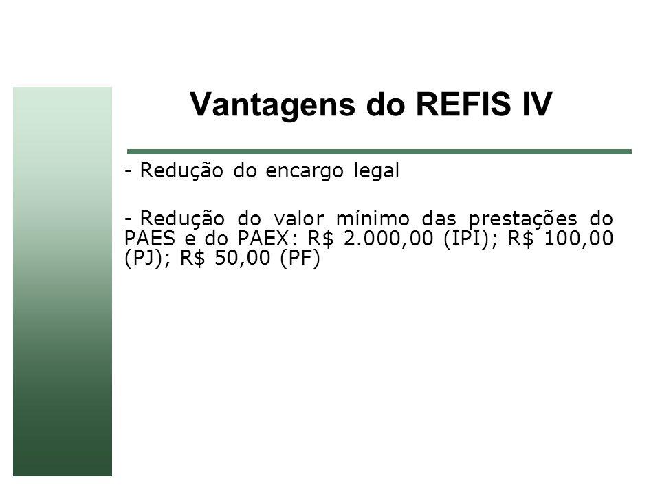 Vantagens do REFIS IV Redução do encargo legal