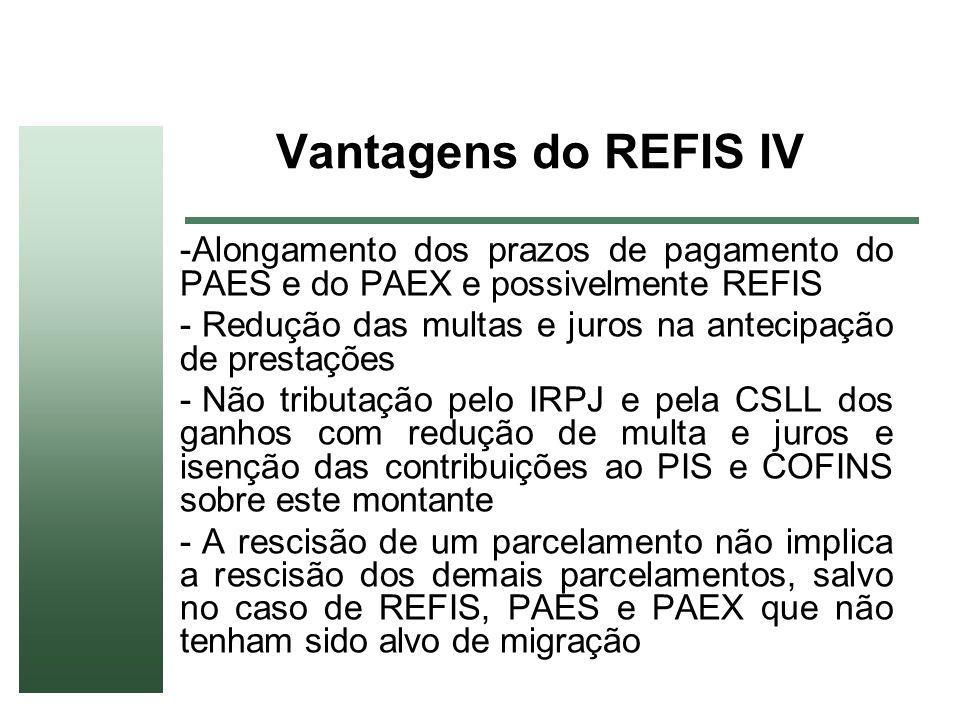 Vantagens do REFIS IV Alongamento dos prazos de pagamento do PAES e do PAEX e possivelmente REFIS.