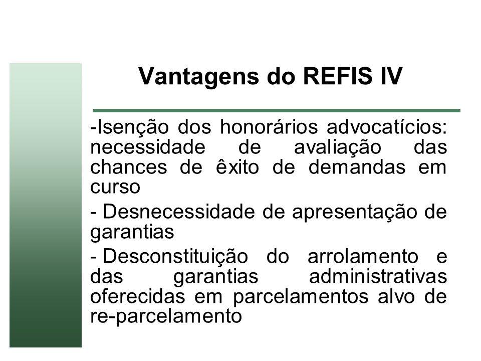 Vantagens do REFIS IV Isenção dos honorários advocatícios: necessidade de avaliação das chances de êxito de demandas em curso.
