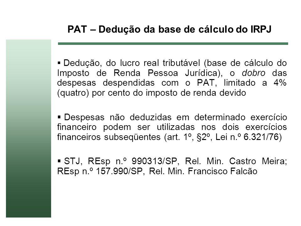 PAT – Dedução da base de cálculo do IRPJ