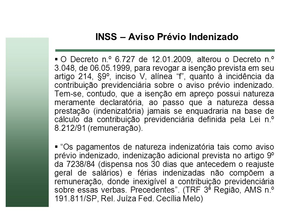 INSS – Aviso Prévio Indenizado