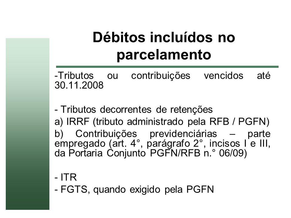 Débitos incluídos no parcelamento