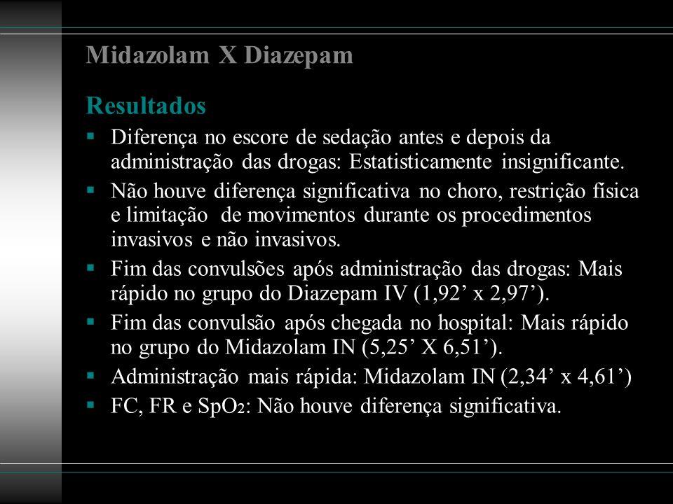 Midazolam X Diazepam Resultados