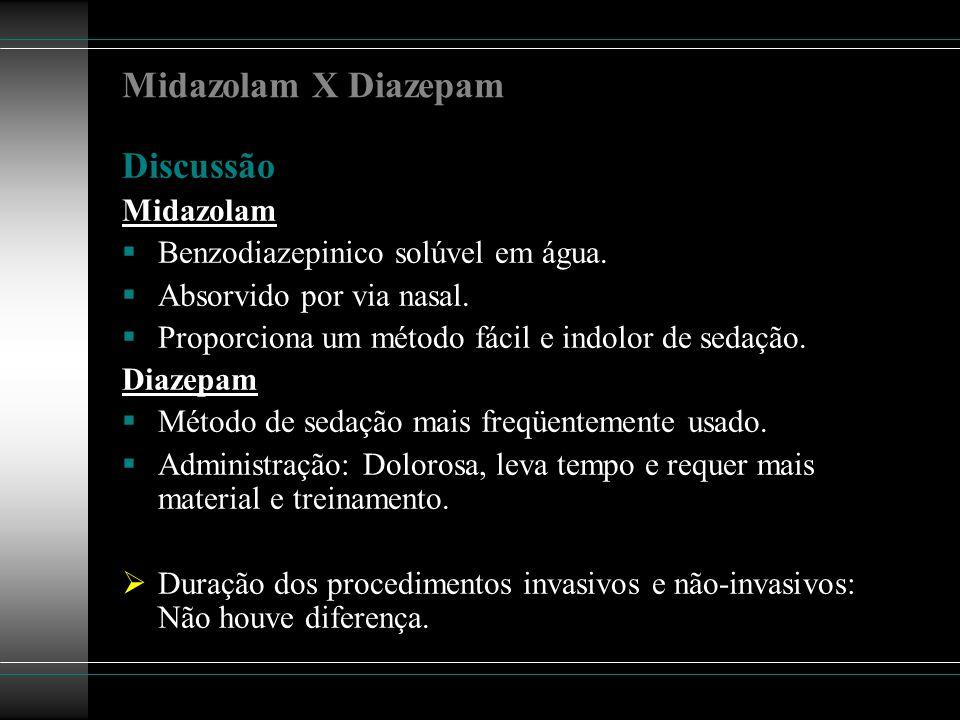 Midazolam X Diazepam Discussão Midazolam