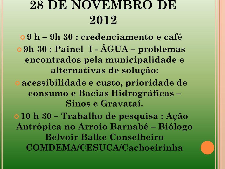 9 h – 9h 30 : credenciamento e café