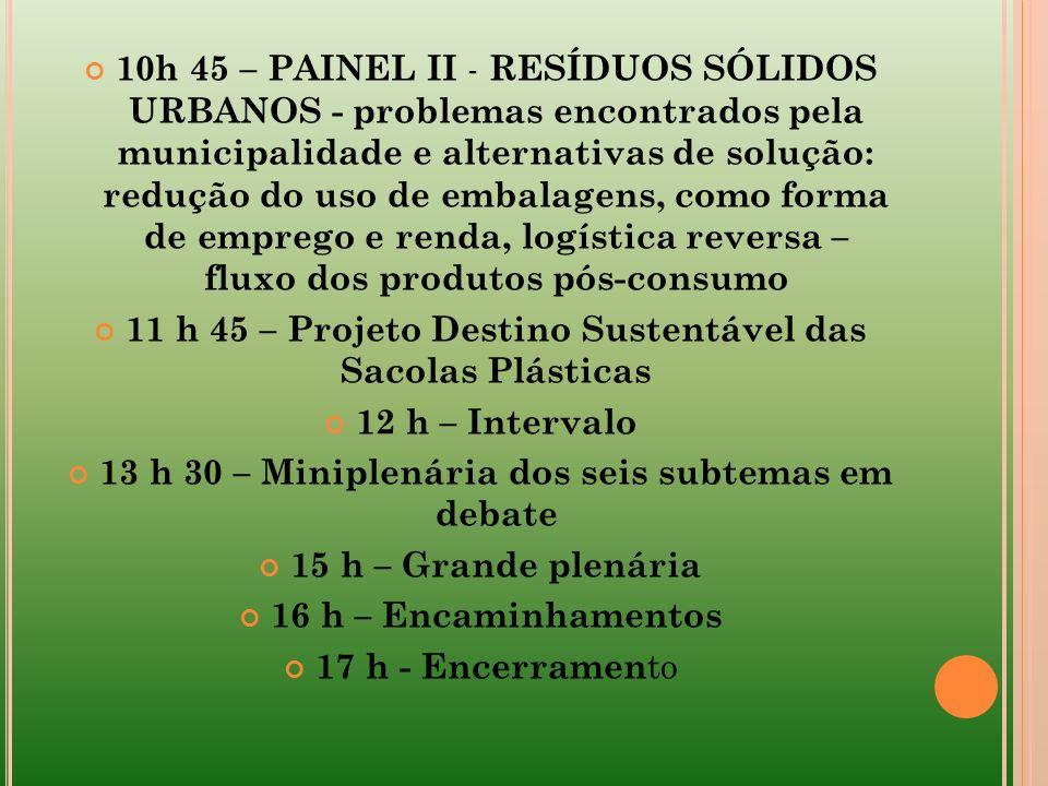 11 h 45 – Projeto Destino Sustentável das Sacolas Plásticas