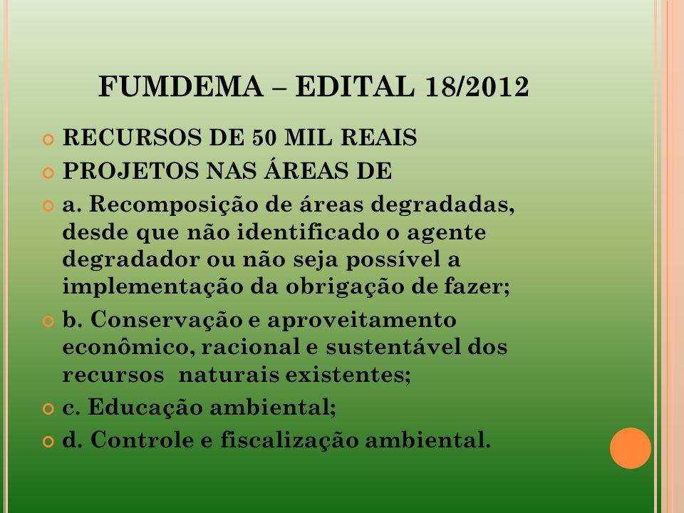 FUMDEMA – EDITAL 18/2012 RECURSOS DE 50 MIL REAIS