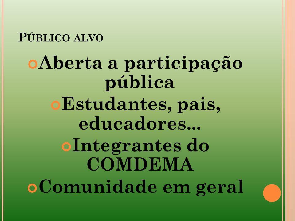 Aberta a participação pública Estudantes, pais, educadores...