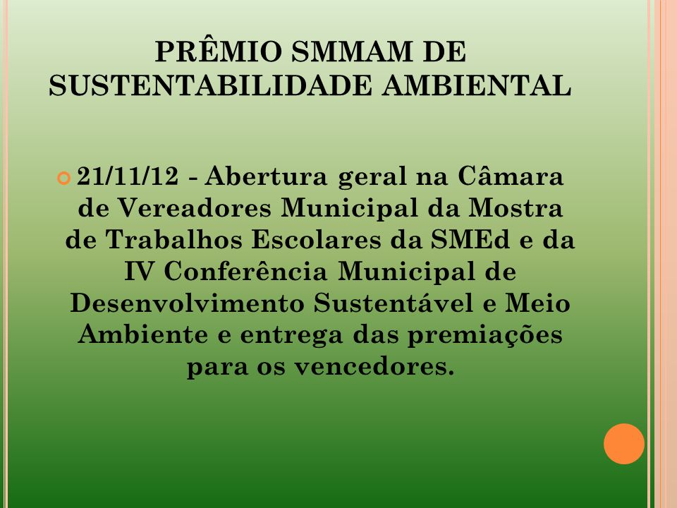 PRÊMIO SMMAM DE SUSTENTABILIDADE AMBIENTAL