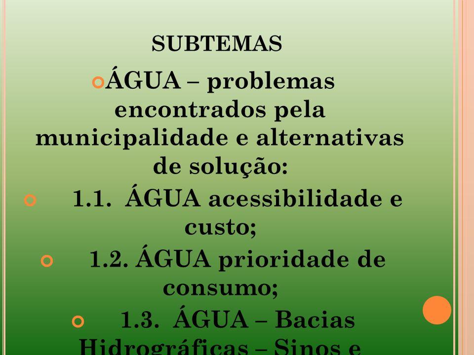 subtemas ÁGUA – problemas encontrados pela municipalidade e alternativas de solução: 1.1. ÁGUA acessibilidade e custo;