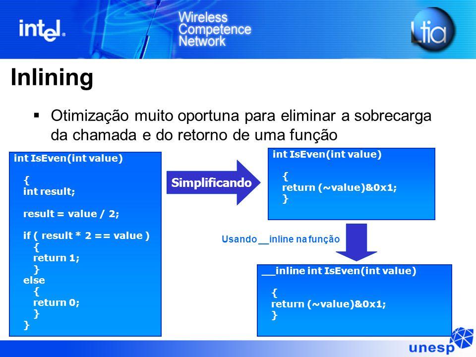 Inlining Otimização muito oportuna para eliminar a sobrecarga da chamada e do retorno de uma função.