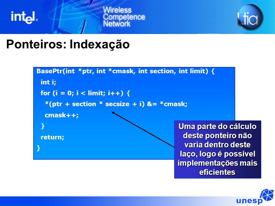 Ponteiros: IndexaçãoBasePtr(int *ptr, int *cmask, int section, int limit) { int i; for (i = 0; i < limit; i++) {