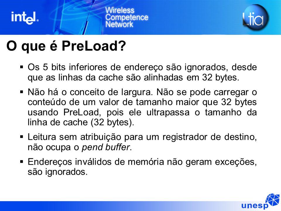 O que é PreLoad Os 5 bits inferiores de endereço são ignorados, desde que as linhas da cache são alinhadas em 32 bytes.