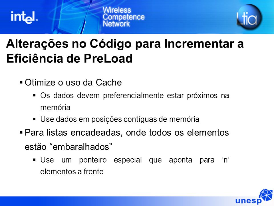 Alterações no Código para Incrementar a Eficiência de PreLoad