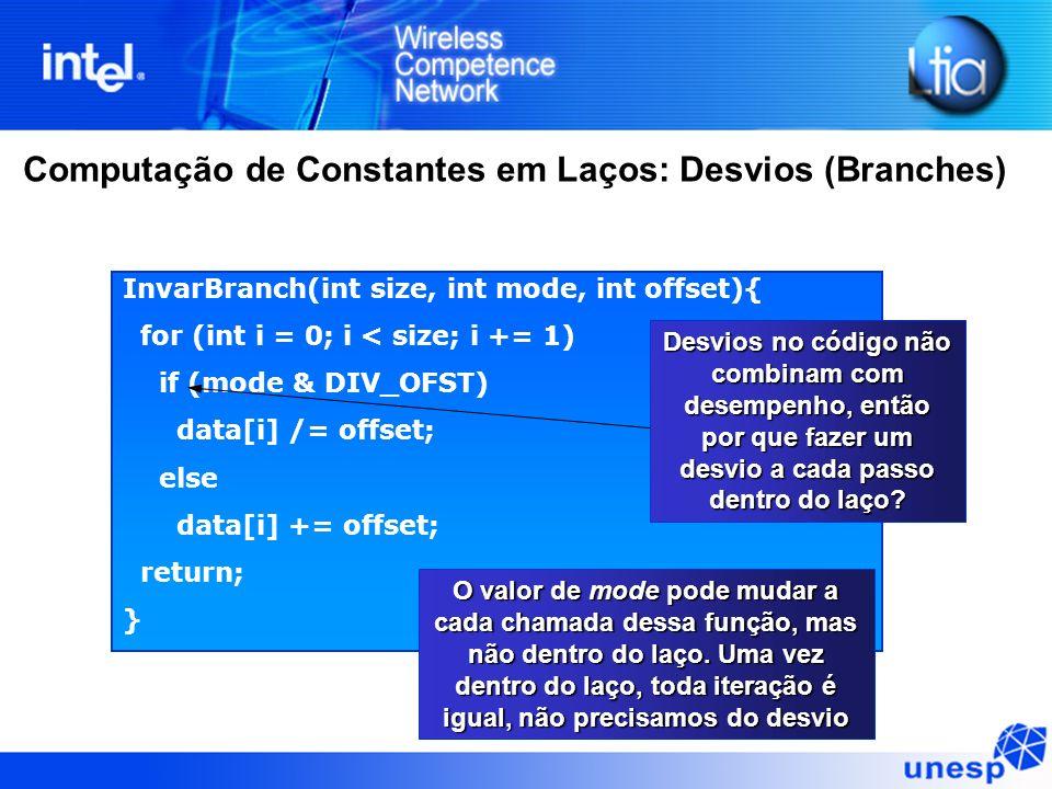 Computação de Constantes em Laços: Desvios (Branches)