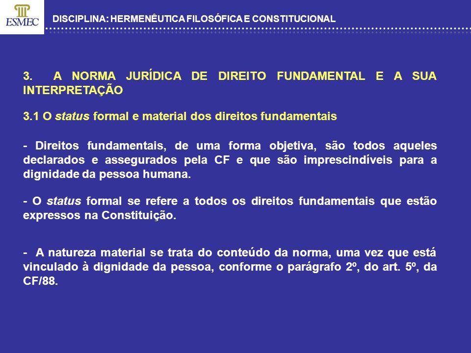 3. A NORMA JURÍDICA DE DIREITO FUNDAMENTAL E A SUA INTERPRETAÇÃO