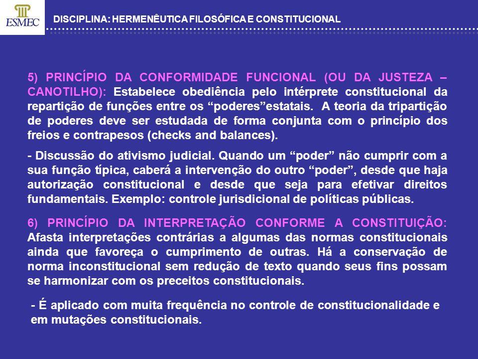 DISCIPLINA: HERMENÊUTICA FILOSÓFICA E CONSTITUCIONAL