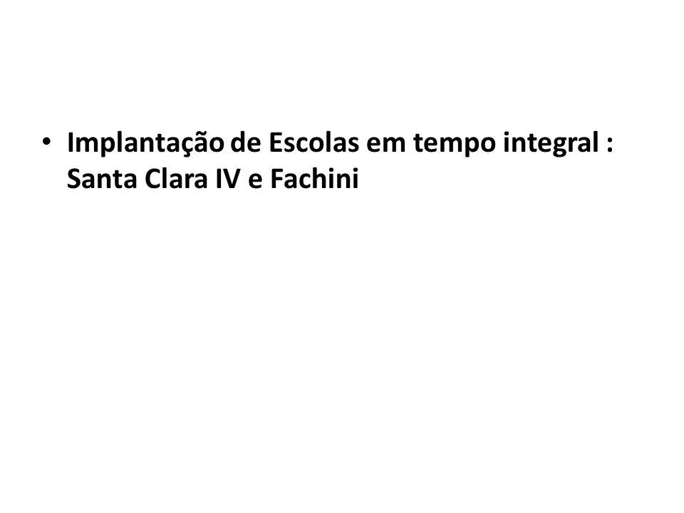 Implantação de Escolas em tempo integral : Santa Clara IV e Fachini
