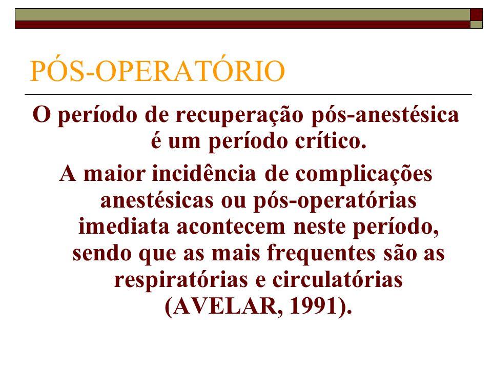 O período de recuperação pós-anestésica é um período crítico.