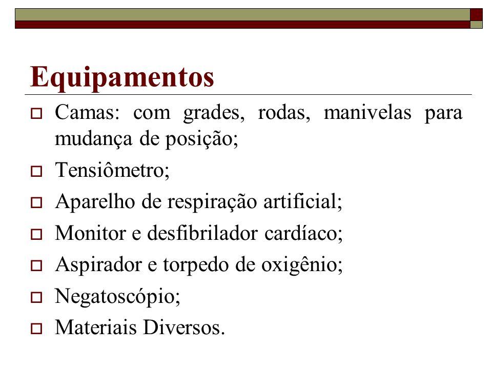 Equipamentos Camas: com grades, rodas, manivelas para mudança de posição; Tensiômetro; Aparelho de respiração artificial;