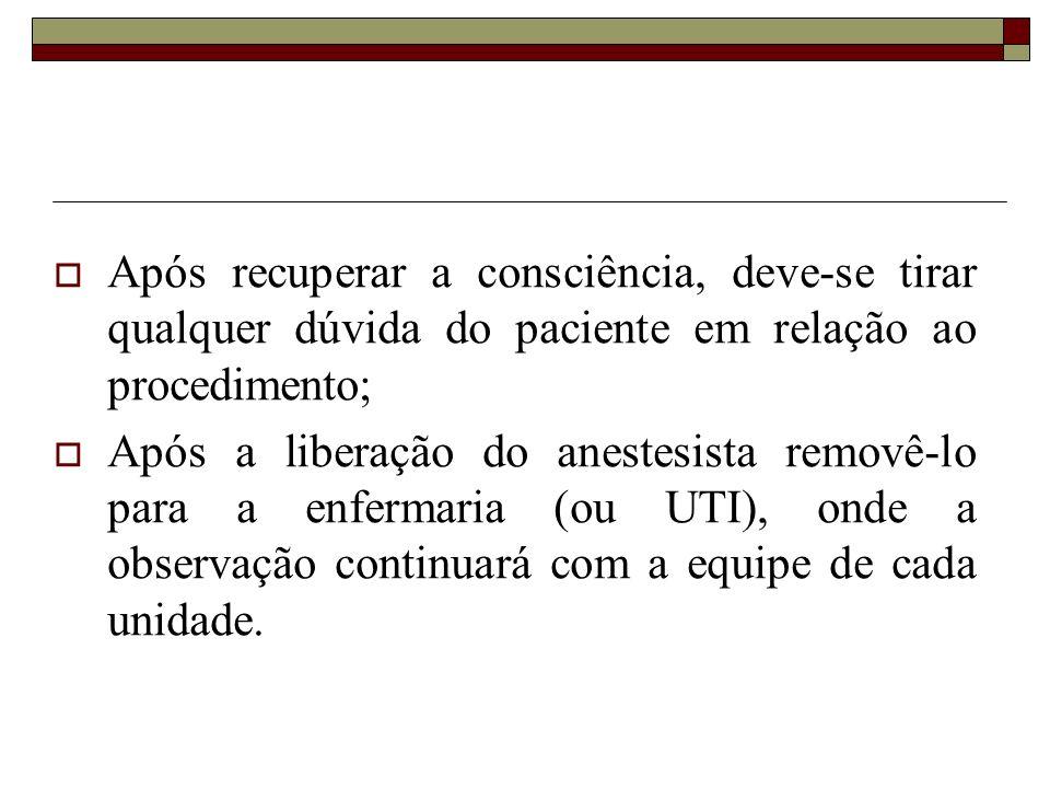 Após recuperar a consciência, deve-se tirar qualquer dúvida do paciente em relação ao procedimento;