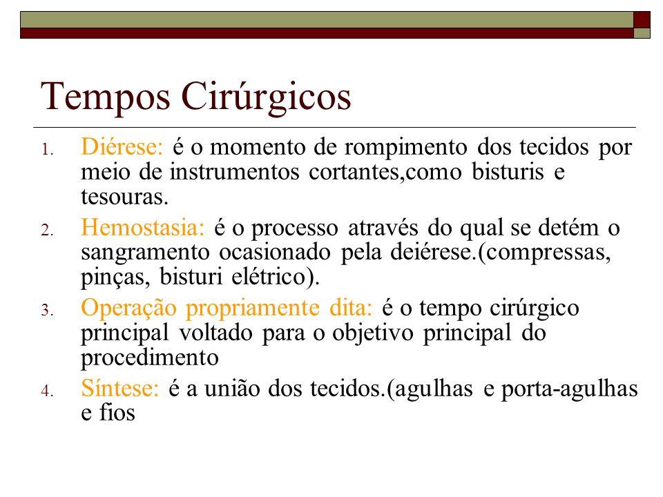 Tempos Cirúrgicos Diérese: é o momento de rompimento dos tecidos por meio de instrumentos cortantes,como bisturis e tesouras.
