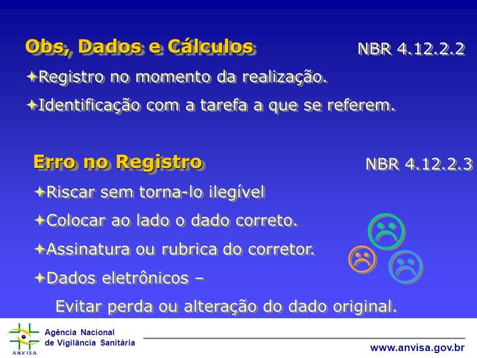 Obs, Dados e Cálculos Erro no Registro NBR 4.12.2.2