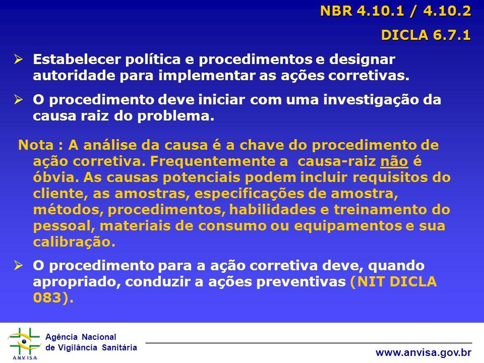 NBR 4.10.1 / 4.10.2 DICLA 6.7.1. Estabelecer política e procedimentos e designar autoridade para implementar as ações corretivas.