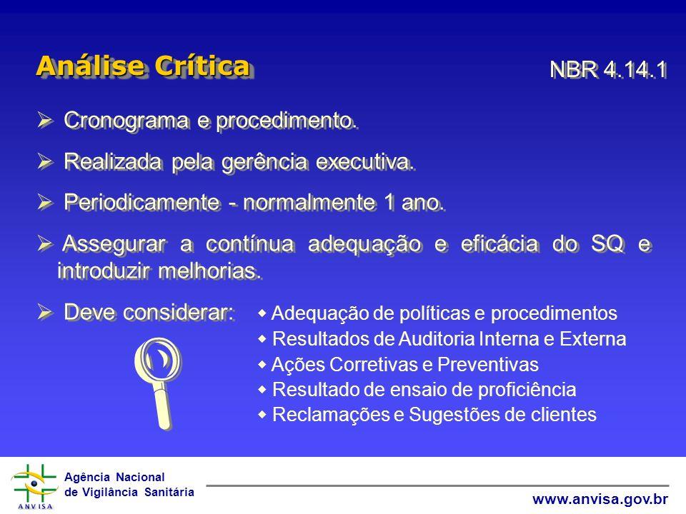  Análise Crítica NBR 4.14.1 Cronograma e procedimento.