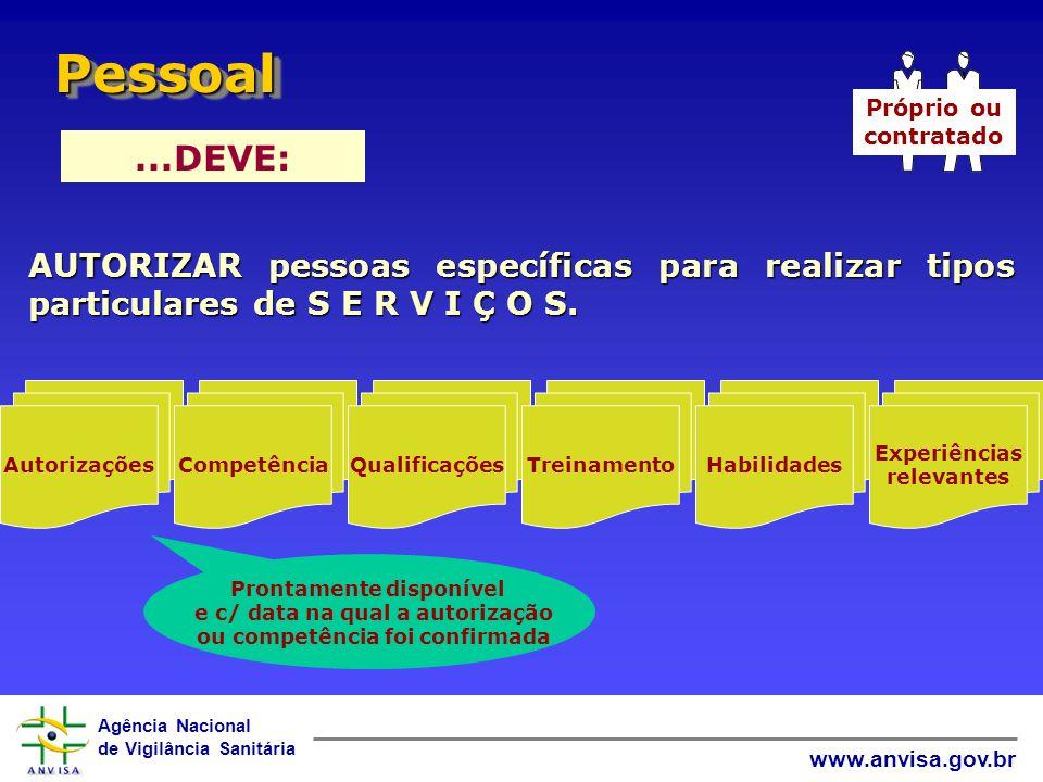 Pessoal Próprio ou. contratado. ...DEVE: AUTORIZAR pessoas específicas para realizar tipos particulares de S E R V I Ç O S.