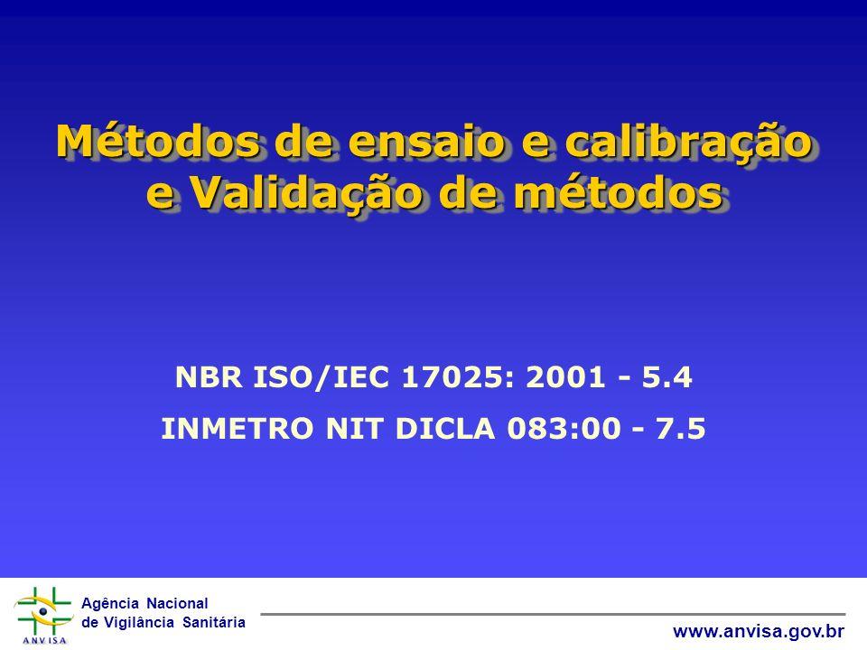 Métodos de ensaio e calibração e Validação de métodos