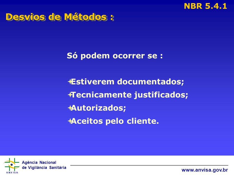 Desvios de Métodos : NBR 5.4.1 Só podem ocorrer se :