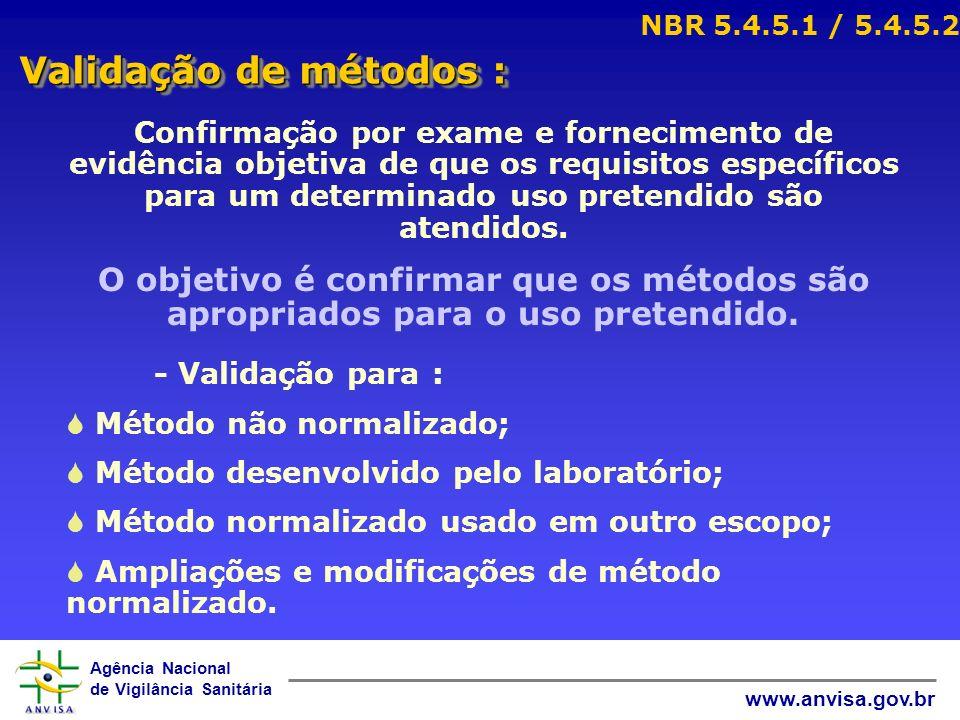 NBR 5.4.5.1 / 5.4.5.2 Validação de métodos :