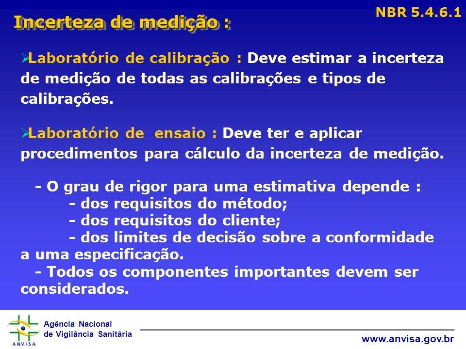 NBR 5.4.6.1 Incerteza de medição : Laboratório de calibração : Deve estimar a incerteza de medição de todas as calibrações e tipos de calibrações.