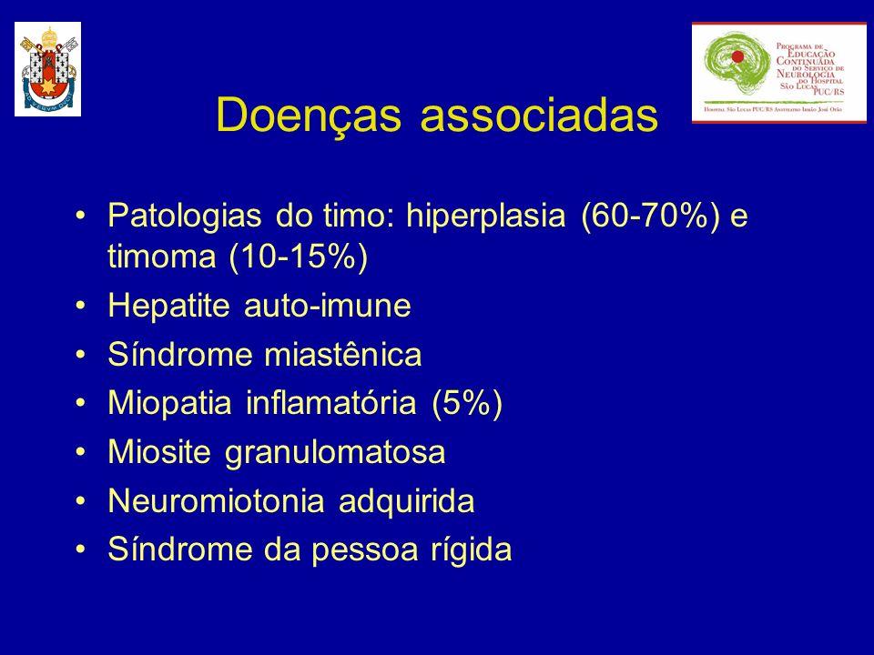Doenças associadas Patologias do timo: hiperplasia (60-70%) e timoma (10-15%) Hepatite auto-imune.