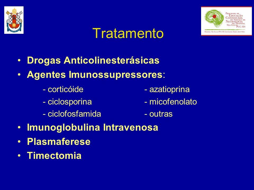 Tratamento Drogas Anticolinesterásicas Agentes Imunossupressores: