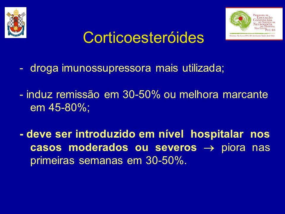 Corticoesteróides droga imunossupressora mais utilizada;