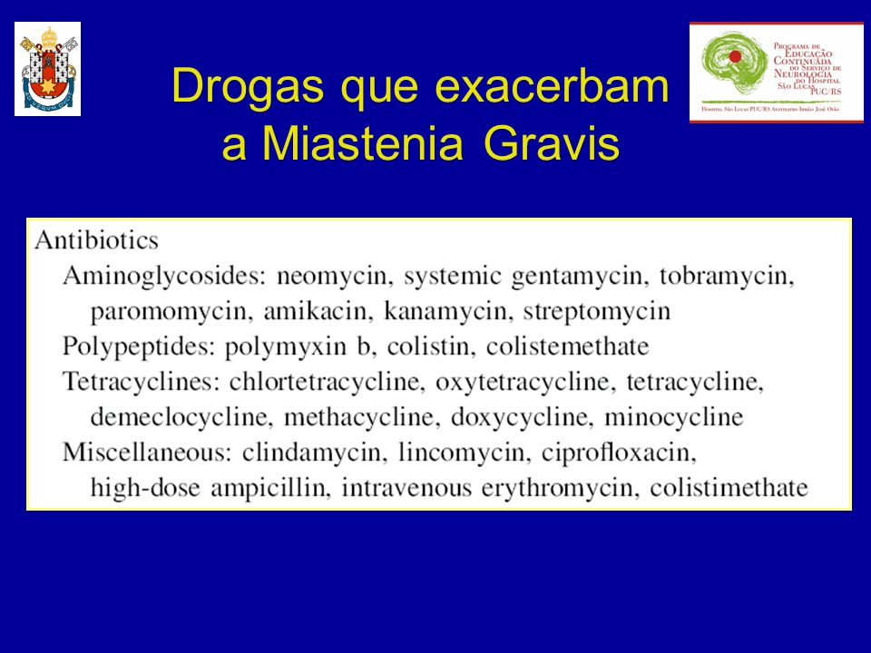 Drogas que exacerbam a Miastenia Gravis