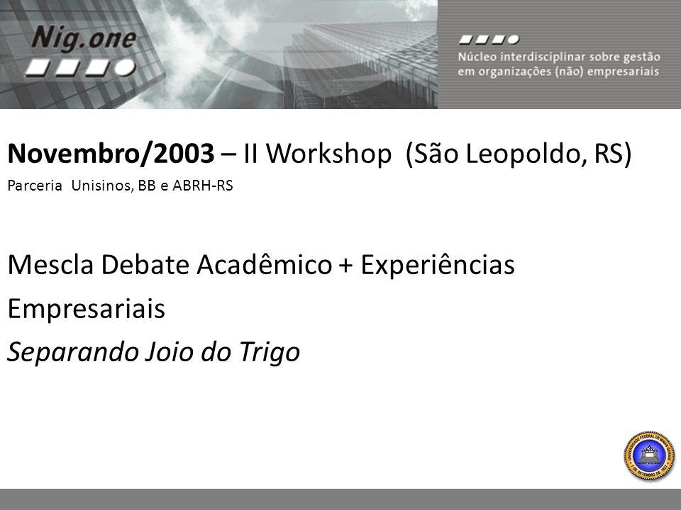 Novembro/2003 – II Workshop (São Leopoldo, RS)