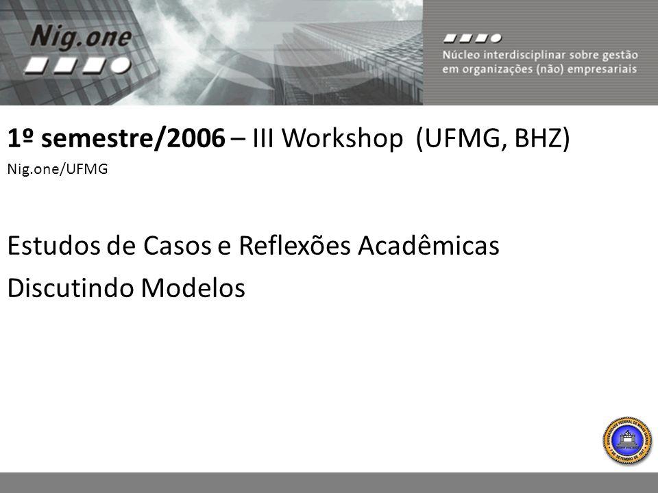 1º semestre/2006 – III Workshop (UFMG, BHZ)