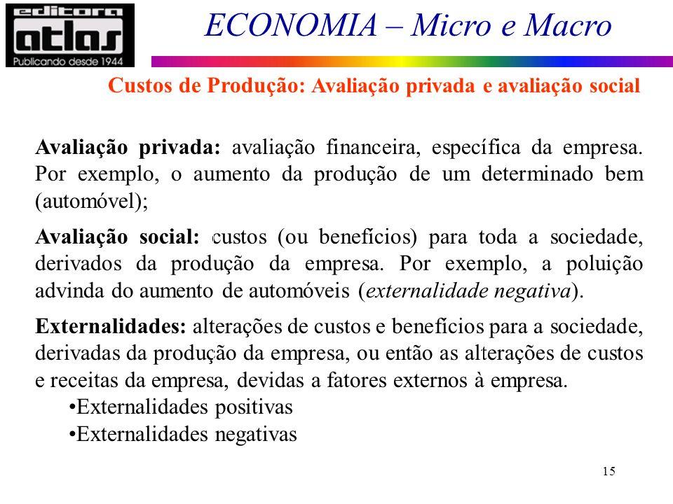 Custos de Produção: Avaliação privada e avaliação social
