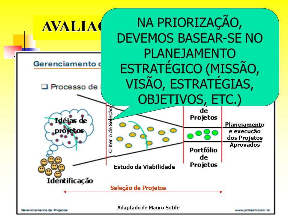 AVALIAÇÃO DE PROPOSTAS Planejamento e execução dos Projetos Aprovados
