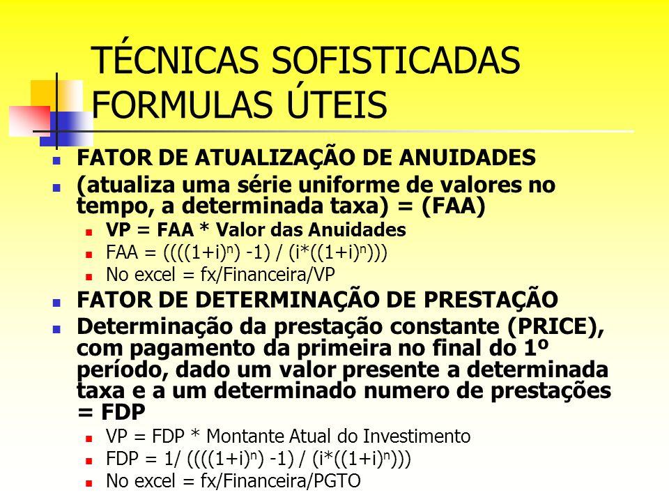 TÉCNICAS SOFISTICADAS FORMULAS ÚTEIS