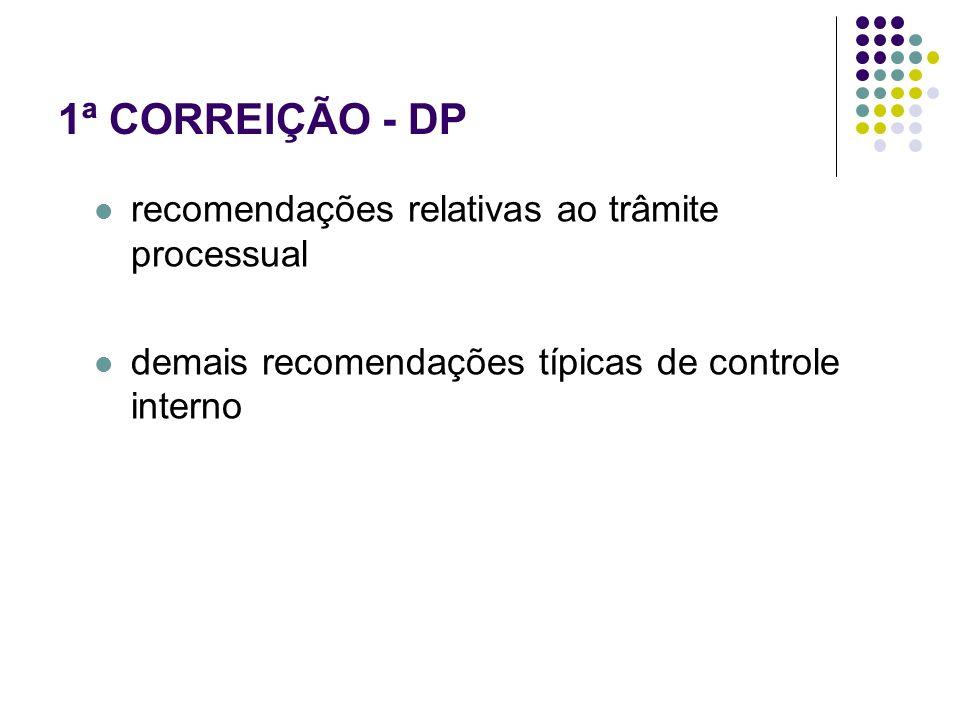 1ª CORREIÇÃO - DP recomendações relativas ao trâmite processual