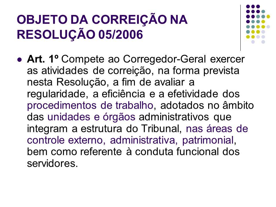 OBJETO DA CORREIÇÃO NA RESOLUÇÃO 05/2006