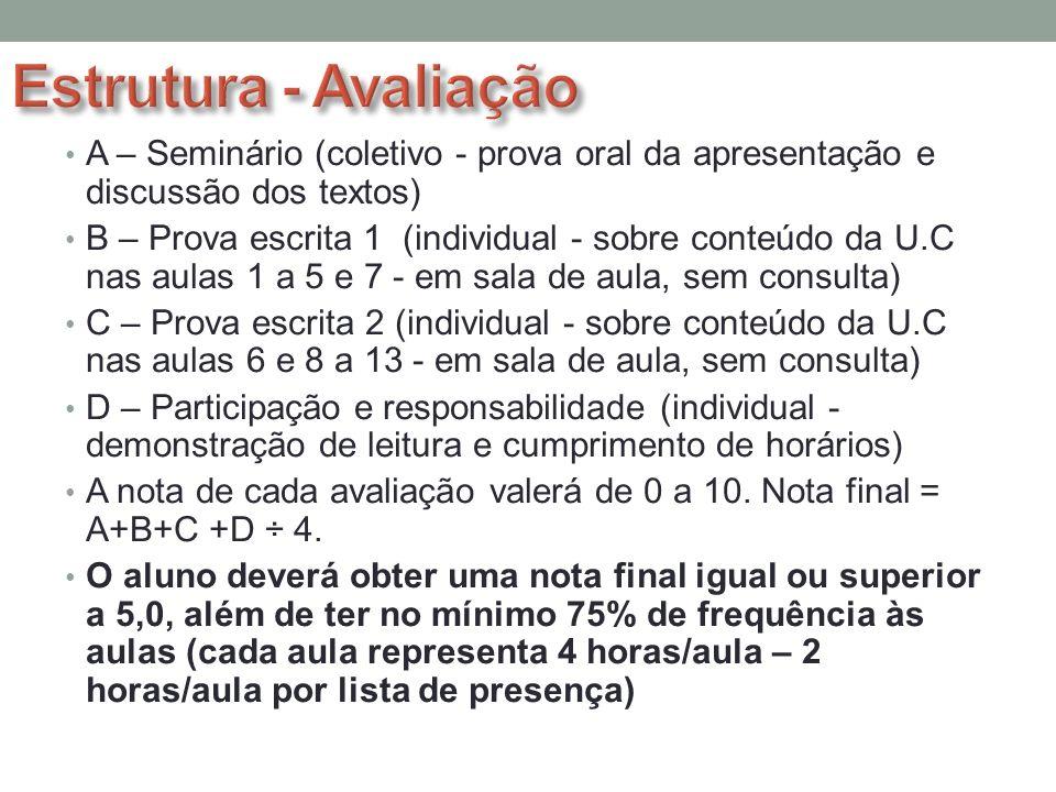 Estrutura - AvaliaçãoA – Seminário (coletivo - prova oral da apresentação e discussão dos textos)