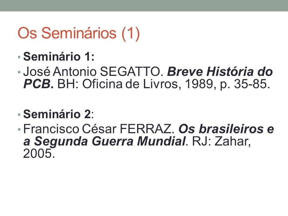 Os Seminários (1) Seminário 1: José Antonio SEGATTO. Breve História do PCB. BH: Oficina de Livros, 1989, p. 35-85.
