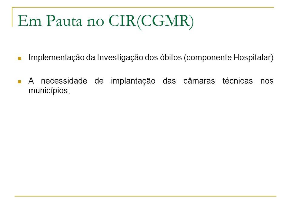 Em Pauta no CIR(CGMR) Implementação da Investigação dos óbitos (componente Hospitalar)