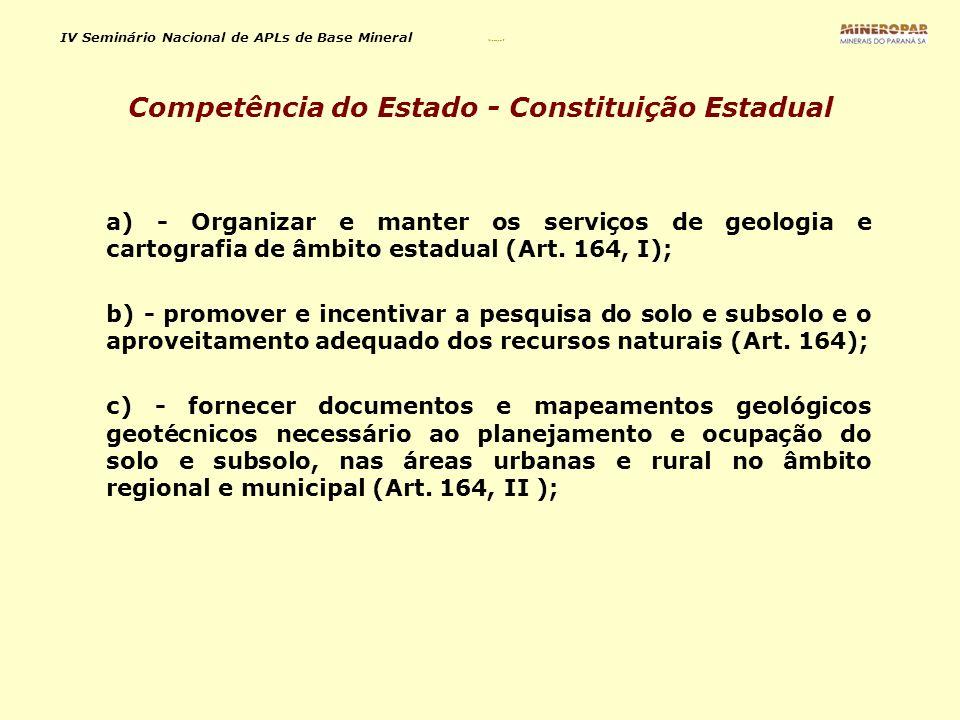 Competência do Estado - Constituição Estadual